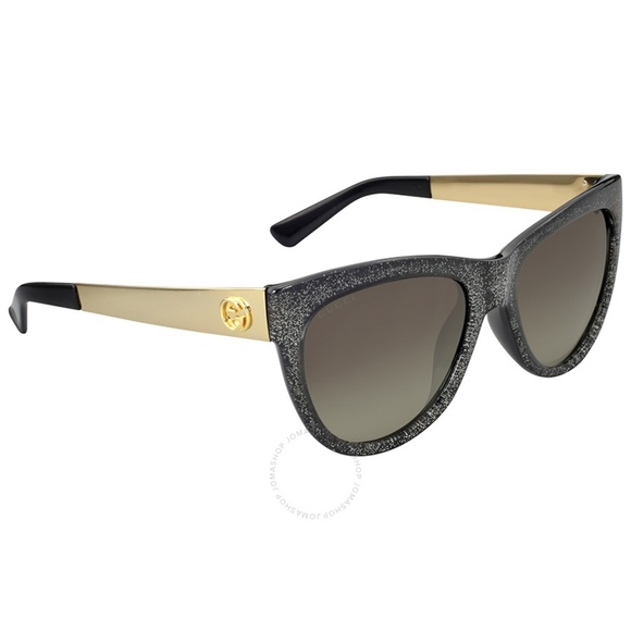 b927b569cc1 GUCCI Grey Glitter and Gold Cat Eye Sunglasses